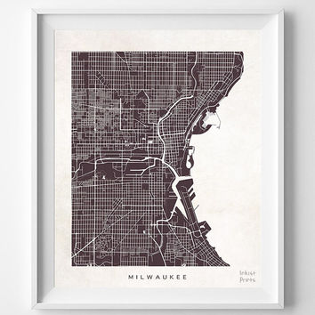 Milwaukee, Wisconsin, Map, State, Print, Nursery, Poster, Wall Decor, Town, Illustration, Pretty, Room, Art, Cute, World, Street [NO 508]