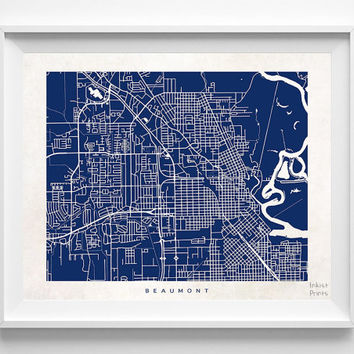 Beaumont, Texas, Street Map, Print, Nursery, World, State, Town, Art, Bedroom, Living Room, Poster, Wall Decor, Illustration [NO 481]