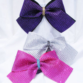 Cheer bow - Rhinestone covered in pink, sliver, purple or teal blue. cheerleader bow - dance bow -Cheerleading bow