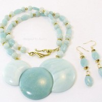 Natural Blue Amazonite Pendant Necklace and Earring Set by DesignedbyAudrey on Zibbet