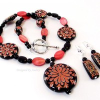 Black White and Pink Hand Painted Flower Necklace and Earring Set by DesignedbyAudrey on Zibbet
