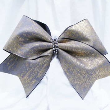 Cheer bow - Sliver and gold sparkle bow with rhinestone center. - cheerleader bow - dance bow -cheerleading bow
