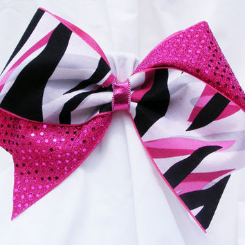Cheer bow -  Black, pink, grey, and white stripes pink sequins. cheerleader bow - dance bow -cheerleading bow