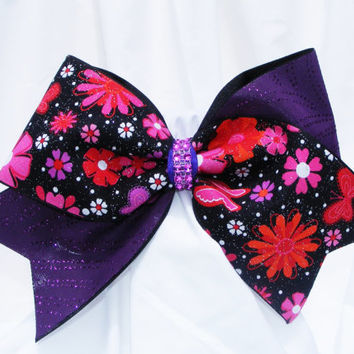 Cheer bow - Purple glitter swirl with pink flowers on black a back with rhinestone center.- cheerleader bow -dance bow -cheerleading bow