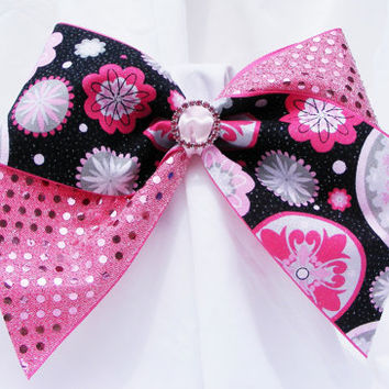 Cheer bow - Pink sequins with pink black and gray flowers and a pink circle rhinestone center. cheerleader bow - dance bow -cheerleading bow