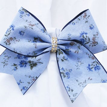 Cheer bow - Light blue with flowers and a  gold rhinestone center.  cheerleader bow - dance bow -cheerleading bow