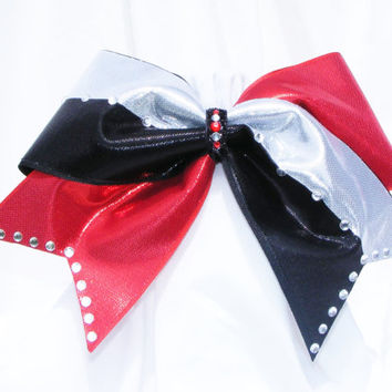 Cheer bow - Pick your own colors with hand set rhinestones custom bow  red, black and white. cheerleader bow - dance bow -cheerleading bow