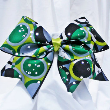 Cheer bow - Green, black, sliver and white geometric circle pattern with sliver sequins.cheerleader bow - dance bow -cheerleading bow