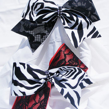 Cheer bow - Red or white with black lace with zebra print and rhinestone center. cheerleader bow - dance bow -cheerleading bow