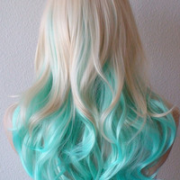 Summer Special // Blonde Mint/Teal color Ombre wig.  Medium length curly hair long side bangs blonde light blue Ombre colored wig.