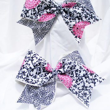 Cheer bow - Pink flowers with black  and hand set rhine-studs. cheerleader bow - dance bow -cheerleading bow