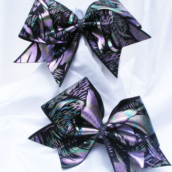 Cheer bow - Multi colored metallic feather print holographic fabric. cheerleader bow - dance bow -cheerleading bow