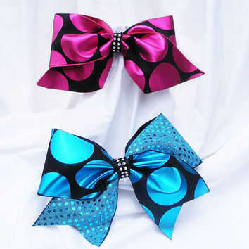 Cheer bow - Blue or pink  polka dot with sequins with rhinestone center holographic fabric. cheerleader bow - dance bow -cheerleading bow