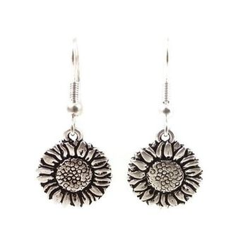 Surgical Steel Dangle Earrings Sunflower Silver Color