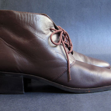 Vintage 90s Brown Leather Ankle Boots Booties Lace Up 9 M