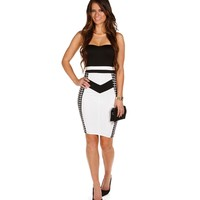 White Color Block Refined Midi Dress