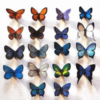 Butterfly Magnets Set of 18 exotic butterflies, Insects, Refrigerator Magnets, Handmade
