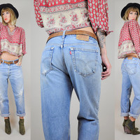 vtg 70's LEVI'S 501 Boyfriend Jeans DISTRESSED denim Worn-in Festival Holes Baggy Boho Medium