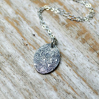 Oval Silver Pendant Necklace - PMC, Fine Silver, Sterling Silver, Floral Print, Medallion