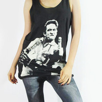 JOHNNY CASH Country Rockabilly Folk Rock Music Shirt Women Tank Top Tunic Top Vest Women Shirt Sleeveless Singlet Black T-Shirt Size S M