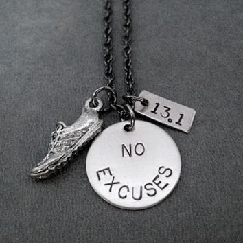 RUN YOUR RACE With NO EXCUSES - Choose your DISTANCE! - Pewter Running Shoe and Nickel pendants priced with Gunmetal chain