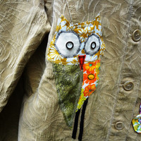 Small/Med Funky Jacket with Owl Up / OOAK / Altered Coldwater Creek/ Upcycled /