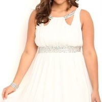 Plus Size Short Homecoming Dress with Keyholes and Soft Circle Skirt