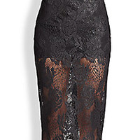 MSGM - Sheer Lace Pencil Skirt - Saks Fifth Avenue Mobile