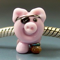 Captain Jack SpareRib Pirate Pig Handmade Lampwork Big Hole Charm Bead | Gelly - Jewelry on ArtFire
