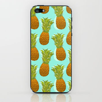 Pineapple Pop Art Pattern on Mint iPhone & iPod Skin by Tangerine-Tane