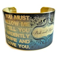Pride and Prejudice Jane Austen & Mr. Darcy Vintage Style Brass Cuff Bracelet