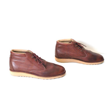 size 9.5 desert boots / ox blood leather NOS unisex ankle boots mens size 8