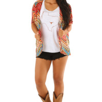 She's All Yours Cardigan: Orange/Multi