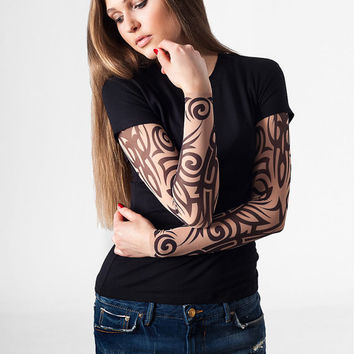 T-shirt with Tribal Temporary Tattoo Printed Mesh Sleeves