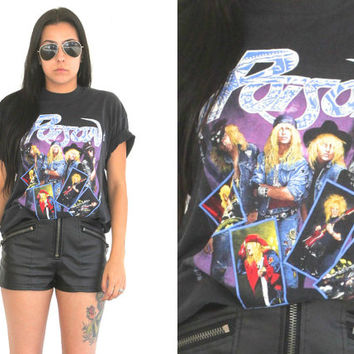 Vintage 80s Band Tee // 1988 Poison Open Up And Say Ahhhh T Shirt // XS Extra Small / Small / Medium