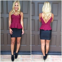 All Or Nothing Peplum Top - BURGUNDY
