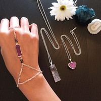 Gorgeous Bohemian Purple Druzy Silver Hand Chain with Czech Beads.