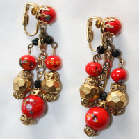 Vintage Red  Earrings Drop Dangle Cluster 1950s Jewelry