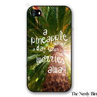 Palm Tree Background with a Pineapple Quote Plastic or Rubber iPhone 4, 5, or 5C Case