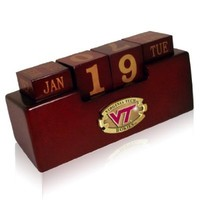 NCAA Virginia Tech Hokies Wood Perpetual Calendar