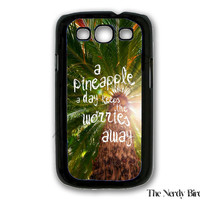 Palm Tree Background with a Pineapple Quote Plastic or Rubber Samsung Galaxy S3 Case