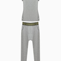 Jersey Top and Harem Pants with Metallic Rivet Detail - Choies.com