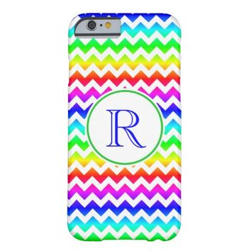 Rainbow White Chevron Monogram iPhone 6 Case