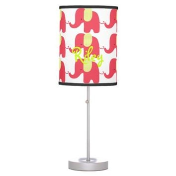 Red and Lime Baby Elephant Table Lamp