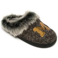 Women's Michigan Wolverines Faux-Fur Sequin Clog Slippers