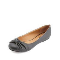 Ruched Bow Ballet Flats by Charlotte Russe - Black