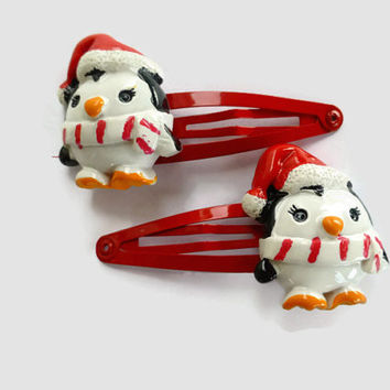 Christmas Penguin Toddler Barrettes - Holiday Barrettes for Girls - Toddler Snap Clip Barrettes - Christmas Hair Clips - Hair Clip Barrette