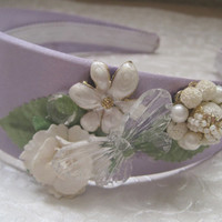 GARDEN DELIGHT-Headband Designed With New And Vintage Jewelry Pieces