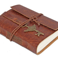 Rustic Distressed Brown Leather Journal with Winged Key Clock Charm Bookmark