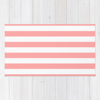Coral Pink Stripe Horizontal Area & Throw Rug by BeautifulHomes | Society6